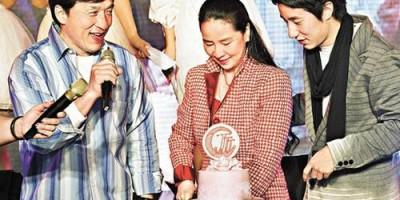Джеки Чан с сыном на 60-летии Джоан Лин